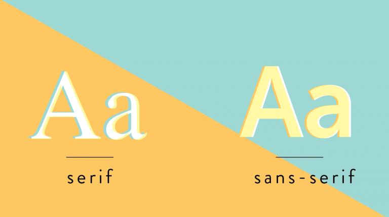 Comparison image between a serif and sans serif font