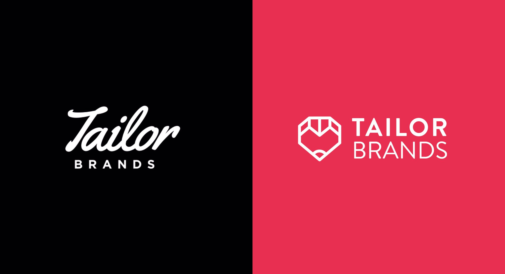Side by side comparison of old Tailor Brands logo and new logo.