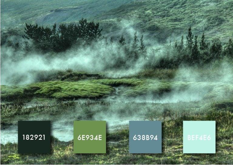paleta de cores verde